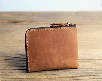 handmade mens's leather zipper wallet,credit card leather wallet,mens leather short wallet