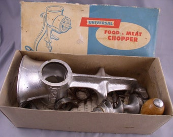 Vintage 1950s Universal Food & Meat Chopper #1 in Box with Accessories - Never Used