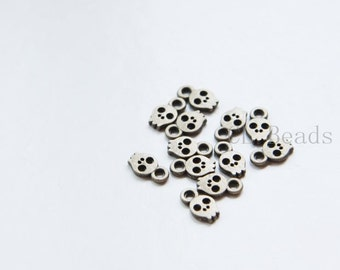 120pcs Antique Brass Base Metal Charms-Skull 8.5x5mm (17676Y-O-284)