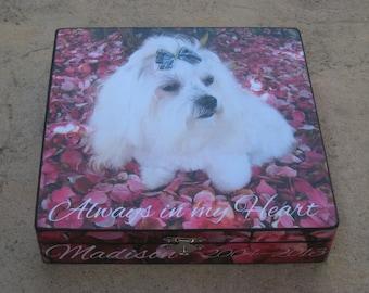 Pet Memorial Keepsake Box, Personalized Photo Keepsake Box, Unique Dog Memorial, Custom Cat Memorial, Pet Gift Memory Box, Pet Urn