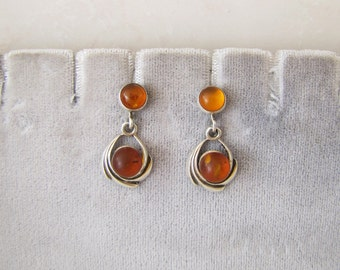 Estate Honey Amber Sterling Silver Earrings, Intriguing Organic Gem