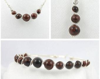 Set: Earrings / bracelet / necklace mahogany Obsidian beads.