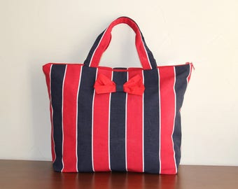 Large tote Beach woman, nautical, 100% cotton, striped Navy Blue and Red bow