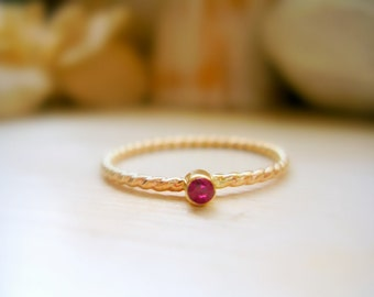 14K Gold Dainty Birthstone Twisted Rope Ring Tiny Birthstone Ring Pinky Ring Promise Ring Push Present - made to order in your finger size