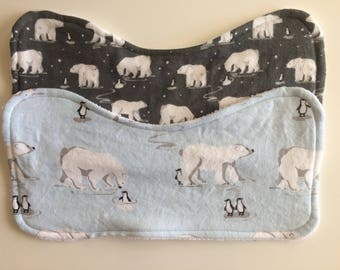 Baby Bibs & Burp Cloth- Polar Bears and Penguins- Grey and blue