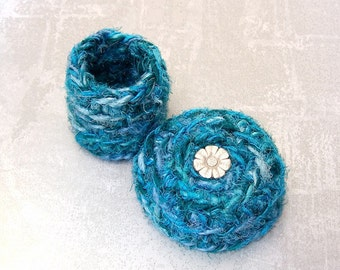 Small Silk Basket - Sweet Daisy Embellished Handmade Silk Tapestry Flower Basket - Valentine's Day, Mother's Day, Wedding Anniversary Gift