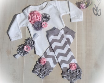 Unique baby gift etsy baby girl bodysuit baby girl leg warmers outfit in pink and gray chevron baby negle Choice Image