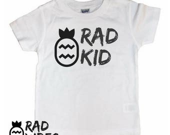 RAD KID pineapple toddler baby tee, toddler t shirts, toddler graphic tee, baby graphic tee, hipster clothing
