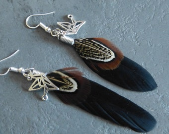 black feather earrings & charms