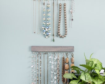 silver and driftwood gray wood jewelry display racks (set of three - two necklace, one earring)