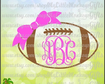 Football SVG ~ Football Bow Monogram ~ Bow Monogram ~ Monogram SVG ~ Football Monogram ~ Commercial Use SVG ~ Cut File ~ Clipart dxf-eps-png