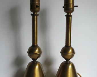 Unusual Vintage Metal Bedside Lamps / Industrial / Atomic Era