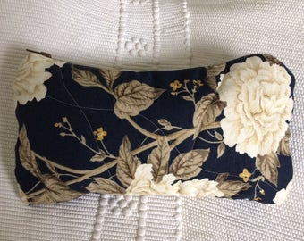 Navy Large Quilted / Zipped Cosmetics Toiletry Bag with English Floral Sanderson Fabric