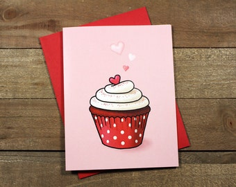 Red Velvet Cupcake Greeting Card (Love, Anniversary, Valentine)