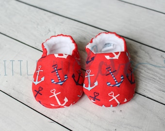 Soft sole baby shoes | Baby booties | Soft sole shoes | Nautical baby | Anchor booties | Summer baby shoes | Modern baby gift | Crib shoes