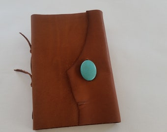 Brown Rustic Journal, Turquoise Stone Journal, Half Page Leather Journal, Southwest Journal