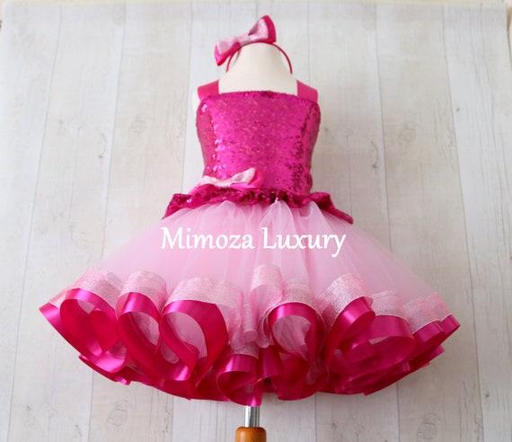 Luxury Pink Birthday Outfit, fuchsia pink girls birthday dress, baby girl tutu princess dress, 1st birthday tutu dress outfit, infant girl
