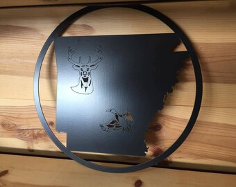 Arkansas Deer & Duck Circle Wall Art