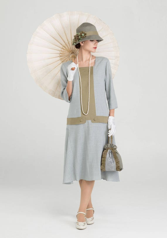 1920s Style Dresses, Flapper Dresses Great Gatsby linen dress in grey and olive with square neck & 3/4  sleeves 1920s high tea dress Downton Abbey dress 1920s flapper dress $140.00 AT vintagedancer.com