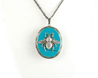 Bee Pill Box Necklace Inlaid in Hand Painted Turquoise Enamel Antique Silver Oval Locket Necklace with Color and Personalized Options