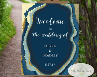 Blue Gold Dipped Agate Slice Welcome to the Wedding Sign | Geode, Printable Poster | INSTANT DOWNLOAD | 8.5x11 | PDF