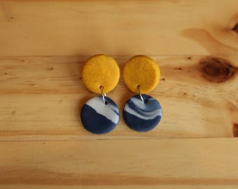 Mustard and navy galaxy small circle fimo drop earrings (handmade)
