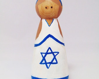 We Stand with Israel,  natural peg toy, Israel wood peg, peg people , peg doll, Flag peg people, flag peg doll