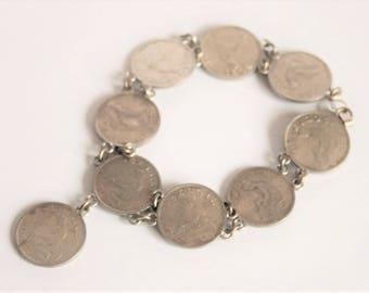 Coin bracelet.  Belgian coin bracelet.  Vintage coin bracelet. Belgium bracelet.  Vintage jewellery