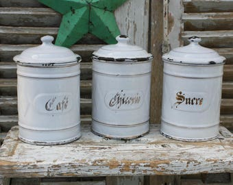Kitchen Canisters / French Enamelware / Enamel / Kitchen Canisters / French Kitchen / French Vintage / Enamel Canister Set / French Decor