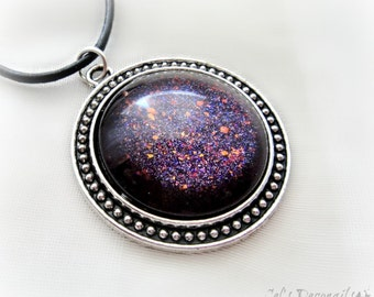 Midnight purple pendant necklace, gothic jewelry, gift for her