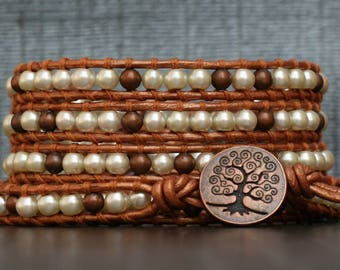 copper bracelet - antiqued copper and cream pearls on bronze leather wrap bracelet - bohemian jewelry - tree of life button
