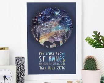 Bear Couple Star Map Print - Personalised Print - Wedding Gift - Anniversary Gift - Valentine's Day Gift - Boyfriend Gift - Geek Couple