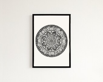 Star Mandala - Hand drawn art print