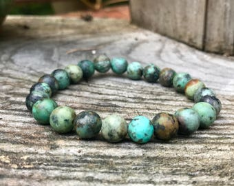African Turquoise Bracelet, Metaphysical Healing Jewelry