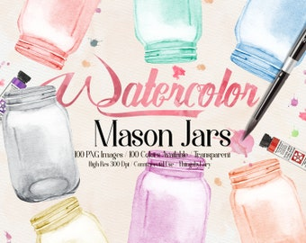 100 Watercolor Mason Jar Clip Arts,300 Dpi Planner Clipart, Scrapbooking, Watercolor Jars, Rustic Wedding, Watercolor Graphic, Bridal Shower