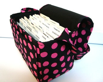 """Large 4"""" Size Coupon Organizer / Coupon Bag /Budget Holder Box Attaches to Your Shopping Cart  Black with Pink Dots  - Select Your Size"""