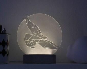 Eagle lamp Full Moon  / Bird lamp / Night light / Nursery lamp / Desk lamp / concrete / Led lamp / Hawk / Falcon / Vulture / Geometric bird