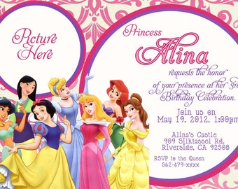 Custom photo invitations disney princess birthday invitation custom photo invitations disney princess birthday invitation you print printable i customize you stopboris Images