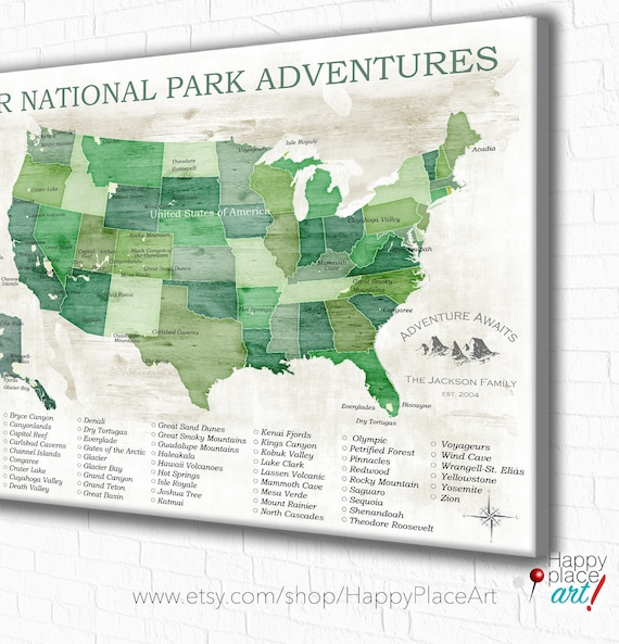 National Parks Map National Park Gift Gift for Hiker US