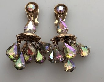 1950s Vintage AURORA Borealis Rhinestone CHANDELIER Earrings 3 Dimensional Rhinestone Drop Earrings Aurora Borealis Dangle Earrings Wedding