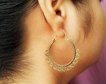 Bohemian Earrings/Spiral Earrings/Tribal Jewelry/Tribal Brass Earrings/Gypsy Earrings/Hoop Earring/Ethnic Earring/Boho Earring
