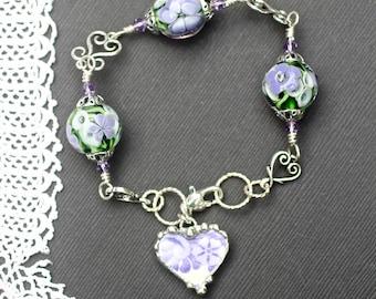 Bracelet, Broken China Jewelry, Handmade Lampwork Beads, Purple Transferware, Sterling Silver, Soldered Jewelry