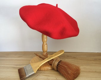 french beret red artist hat costume photo prop,vintage wool beret cap