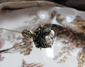 Secret Garden Victorian Wire Wrapped Bird Nest Hat Pin