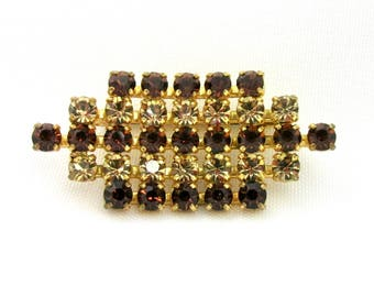Brooch vintage gold tone and yellow rhinestones and cognac color