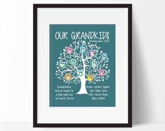 Mothers Day Gift for Grandma, Custom Family Tree, Owl Family Tree,- Family Tree With Owls, Our Grandkids Print