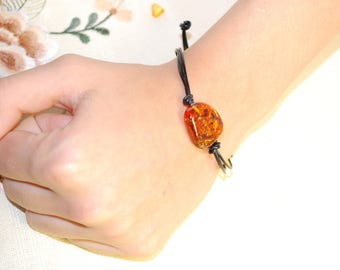 Amber Bracelet Leather Bracelet Variable Length Leather Bracelet With Baltic Amber Frienship Bracelet