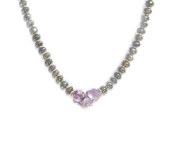 Labradorite Necklace. Lavender amethyst Necklace. Labradorite and Pink Amethyst. Sterling Necklace. Beaded Necklace.