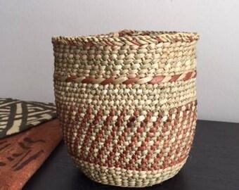 Natural and Rust African Iringa Basket