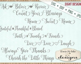 Home Sweet Home SVG - Count Your Blessing svg -  Cherish Things svg - Live Love Laugh SVG - Bundle - Commercial Use  svg, dxf, png, jpg